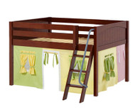 Maxtrix MANSION Low Loft Bed with Curtains Full Size Chestnut 3 | Maxtrix Furniture | MX-MANSION24-CX
