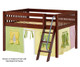 Maxtrix MANSION Low Loft Bed with Curtains Full Size Chestnut 3 | 26444 | MX-MANSION24-CX