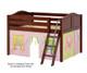 Maxtrix MANSION Low Loft Bed with Curtains Full Size Chestnut 4   Maxtrix Furniture   MX-MANSION25-CX