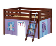Maxtrix MANSION Low Loft Bed with Curtains Full Size Chestnut 6 | Maxtrix Furniture | MX-MANSION27-CX
