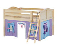 Maxtrix MANSION Low Loft Bed with Curtains Full Size Natural 6   Maxtrix Furniture   MX-MANSION27-NX
