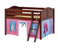 Maxtrix MANSION Low Loft Bed with Curtains Full Size Chestnut 7 | Maxtrix Furniture | MX-MANSION28-CX