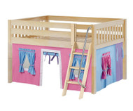 Maxtrix MANSION Low Loft Bed with Curtains Full Size Natural 7 | Maxtrix Furniture | MX-MANSION28-NX