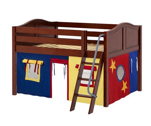 Maxtrix MANSION Low Loft Bed with Curtains Full Size Chestnut 8 | Maxtrix Furniture | MX-MANSION29-CX
