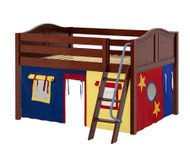 Maxtrix MANSION Low Loft Bed with Curtains Full Size Chestnut 8 | Maxtrix Furniture | MX-MANSION29-CX