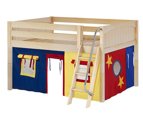 Maxtrix MANSION Low Loft Bed with Curtains Full Size Natural 8   Maxtrix Furniture   MX-MANSION29-NX