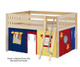 Maxtrix MANSION Low Loft Bed with Curtains Full Size Natural 8   26455   MX-MANSION29-NX