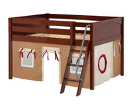 Maxtrix MANSION Low Loft Bed with Curtains Full Size Chestnut 9 | Maxtrix Furniture | MX-MANSION30-CX