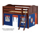 Maxtrix MANSION Low Loft Bed with Curtains Full Size Chestnut 10 | Maxtrix Furniture | MX-MANSION42-CX