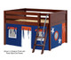 Maxtrix MANSION Low Loft Bed with Curtains Full Size Chestnut 10 | 26458 | MX-MANSION42-CX