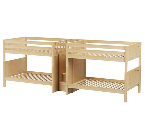 Maxtrix META Quadruple Medium Bunk Bed with Stairs Full Size Natural | Maxtrix Furniture | MX-META-NX