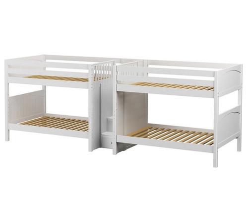 Maxtrix META Quadruple Medium Bunk Bed with Stairs Full Size White | Maxtrix Furniture | MX-META-WX