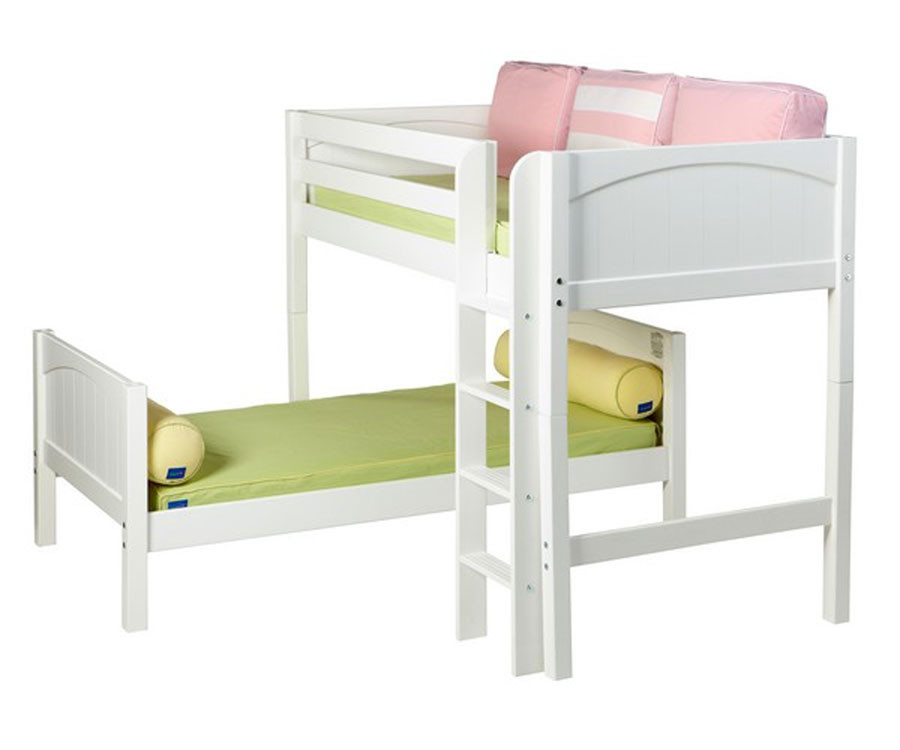Maxtrix MISH L Shaped Bunk Bed Twin Size White