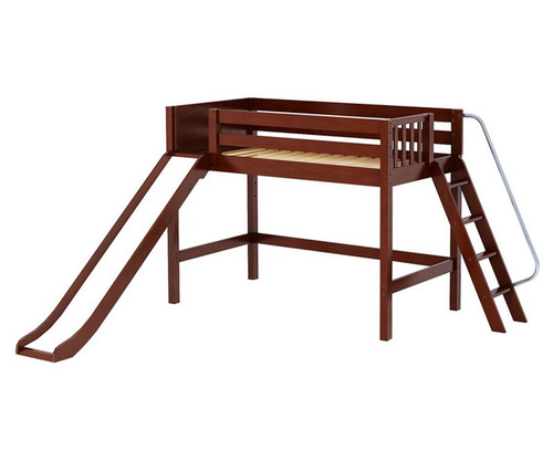 Maxtrix NINJA Mid Loft Bed with Slide Twin Size Chestnut | Maxtrix Furniture | MX-NINJA-CX