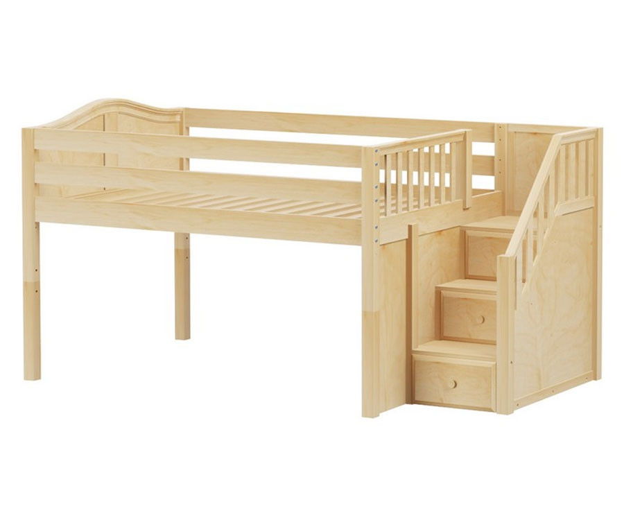 059393aa3935e Maxtrix PERFECT Low Loft Bed with Stairs Full Size Natural