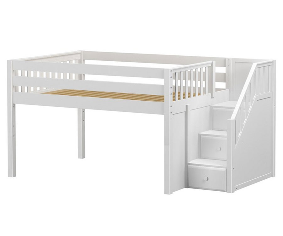 online store 374e0 1cc10 Maxtrix PERFECT Low Loft Bed with Stairs Full Size White