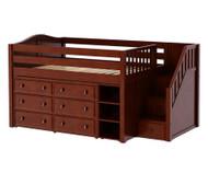 Maxtrix PERFECT Storage Low Loft Bed with Stairs Full Size Chestnut   Maxtrix Furniture   MX-PERFECT1-CX