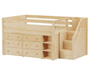 Maxtrix PERFECT Storage Low Loft Bed with Stairs Full Size Natural | Maxtrix Furniture | MX-PERFECT1-NX