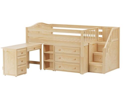 Maxtrix PERFECT Storage Low Loft Bed with Stairs & Desk Full Size Natural | Maxtrix Furniture | MX-PERFECT2L-NX