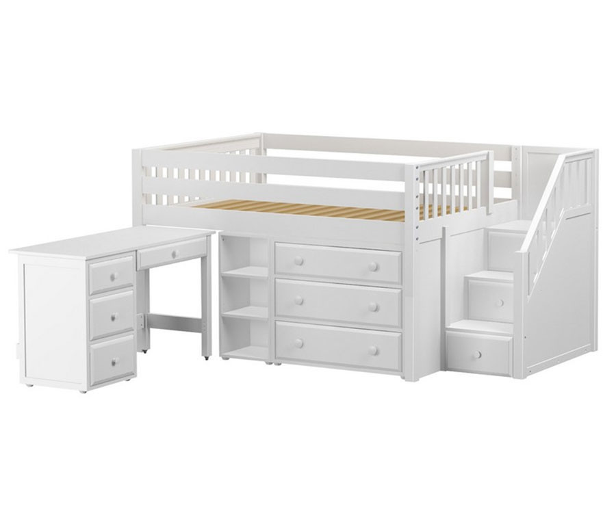 Maxtrix PERFECT Storage Low Loft Bed with Stairs & Desk Full Size White