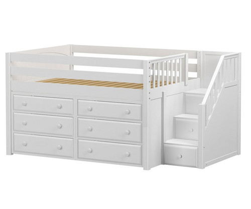 Maxtrix PERFECT Storage Low Loft Bed with Stairs Full Size White 1   Maxtrix Furniture   MX-PERFECT3-WX