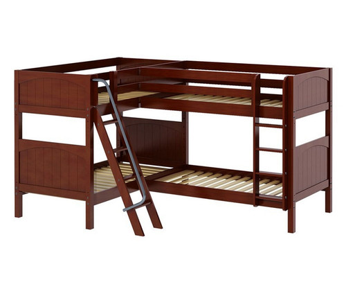 Maxtrix QUATTRO Corner Bunk Bed Twin Size Chestnut | Maxtrix Furniture | MX-QUATTRO-CX