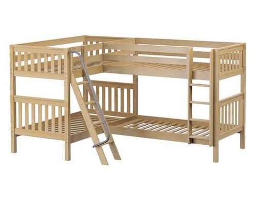 Maxtrix QUATTRO Corner Bunk Bed Twin Size Natural | Maxtrix Furniture | MX-QUATTRO-NX