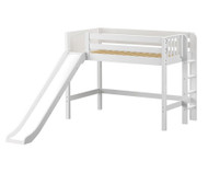 Maxtrix RANGER Mid Loft Bed with Slide Twin Size White | Maxtrix Furniture | MX-RANGER-WX