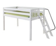 Maxtrix RIGHT Low Loft Bed Twin Size White | Maxtrix Furniture | MX-RIGHT-WX