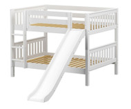 Maxtrix ROCK Low Bunk Bed w/ Slide Full Size White | Maxtrix Furniture | MX-ROCK-WX