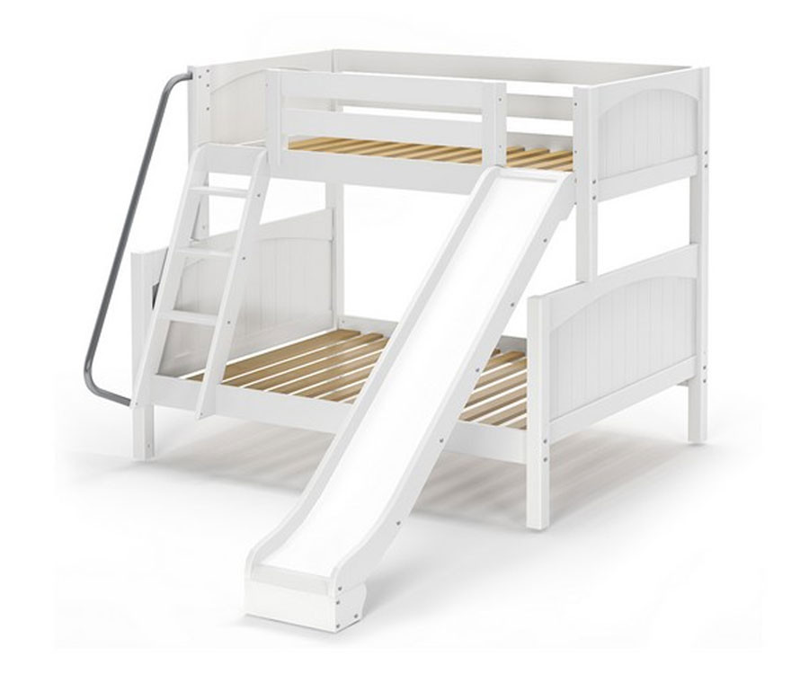 newest 84a3b 3ec82 Maxtrix SLICK Bunk Bed w/ Slide Twin over Full Size White