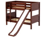 Maxtrix SMILE Low Bunk Bed w/ Slide Twin Size Chestnut | Maxtrix Furniture | MX-SMILE-CX