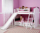 Maxtrix SMILE Low Bunk Bed w/ Slide Twin Size White | Maxtrix Furniture | MX-SMILE-WX