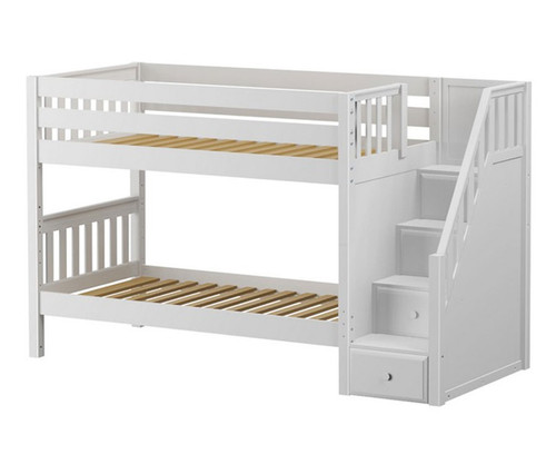 Maxtrix STACKER Low Bunk Bed with Stairs Twin Size White | Maxtrix Furniture | MX-STACKER-WX