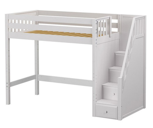 Maxtrix STAR High Loft Bed with Stairs Twin Size White | Maxtrix Furniture | MX-STAR-WX
