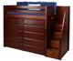 Maxtrix STAR Storage High Loft Bed with Stairs Twin Size White | Maxtrix Furniture | MX-STAR3-WX