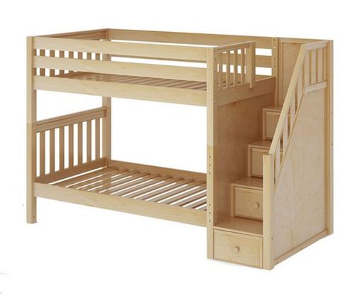 Maxtrix STELLAR Medium Bunk Bed with Stairs Twin Size Natural | Maxtrix Furniture | MX-STELLAR-NX