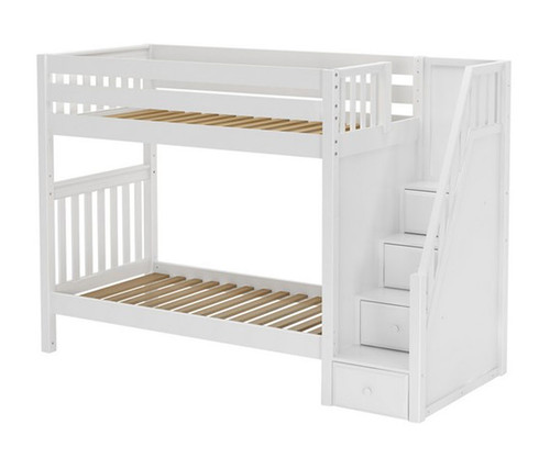 Maxtrix STELLAR Medium Bunk Bed with Stairs Twin Size White   Maxtrix Furniture   MX-STELLAR-WX