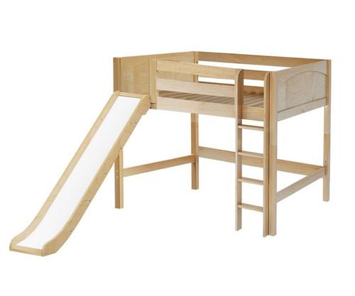 Maxtrix SUGAR Mid Loft Bed with Slide Full Size Natural | Maxtrix Furniture | MX-SUGAR-NX