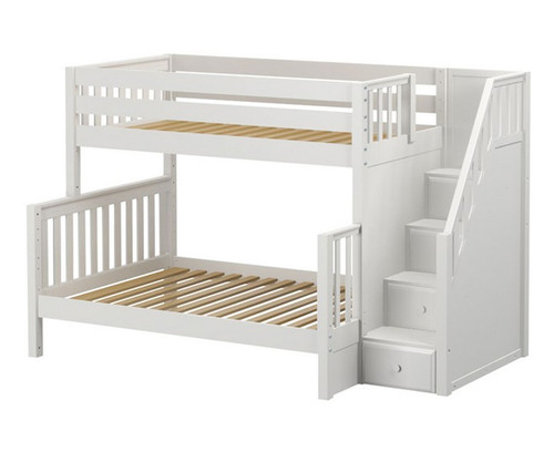 Maxtrix SUMO Bunk Bed with Stairs Twin over Full Size White   Maxtrix Furniture   MX-SUMO-WX