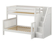 Maxtrix SUMO Bunk Bed with Stairs Twin over Full Size White | Maxtrix Furniture | MX-SUMO-WX