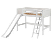 Maxtrix SWEET Mid Loft Bed with Slide Twin Size White | Maxtrix Furniture | MX-SWEET-WX