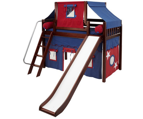 Maxtrix SWEET Mid Loft Bed with Tent & Slide Twin Size Chestnut | Maxtrix Furniture | MX-SWEET21-CX
