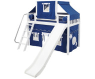 Maxtrix SWEET Mid Loft Bed with Tent & Slide Twin Size White | Maxtrix Furniture | MX-SWEET22-WX