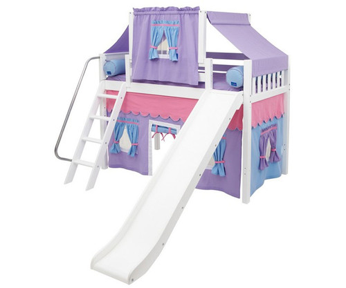 Maxtrix SWEET Mid Loft Bed with Tent & Slide Twin Size White 3 | Maxtrix Furniture | MX-SWEET27-WX