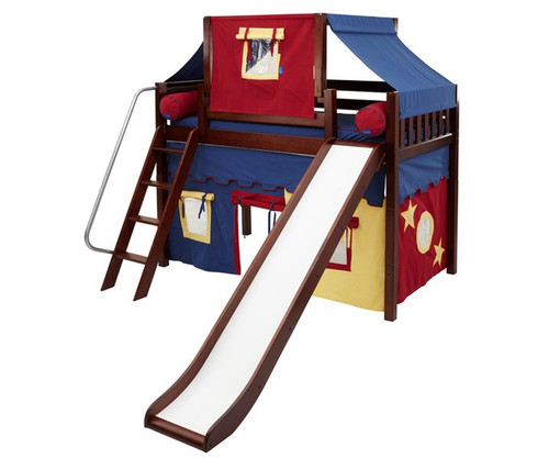 Maxtrix SWEET Mid Loft Bed with Tent & Slide Twin Size Chestnut 2 | Maxtrix Furniture | MX-SWEET29-CX