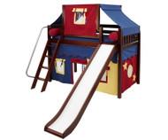 Maxtrix SWEET Mid Loft Bed with Tent & Slide Twin Size Chestnut 2   Maxtrix Furniture   MX-SWEET29-CX