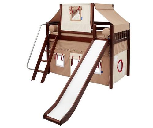 Maxtrix SWEET Mid Loft Bed with Tent & Slide Twin Size Chestnut 3   Maxtrix Furniture   MX-SWEET30-CX