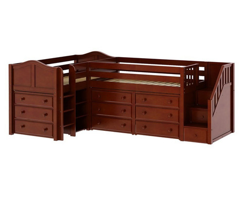 Maxtrix TANDEM Corner Low Loft Bed with Dressers Twin Size Chestnut | Maxtrix Furniture | MX-TANDEM1-CX
