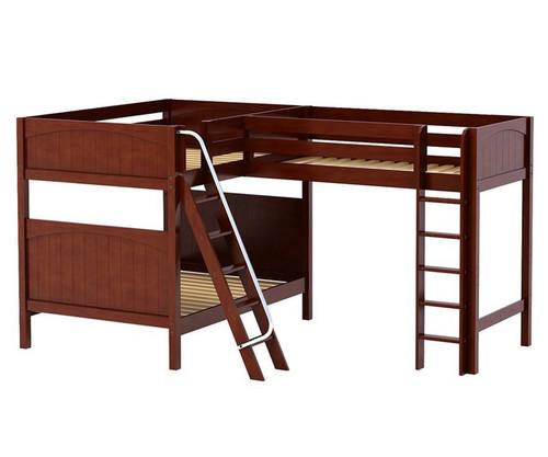 Maxtrix TRIPLET Corner Loft Bunk Bed Full Size Chestnut | Maxtrix Furniture | MX-TRIPLET-CX